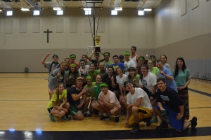 The House of Xavier gathers for a celebratory picture after winning the 2014-2015 House Cup. Photo by Elle Bennett.